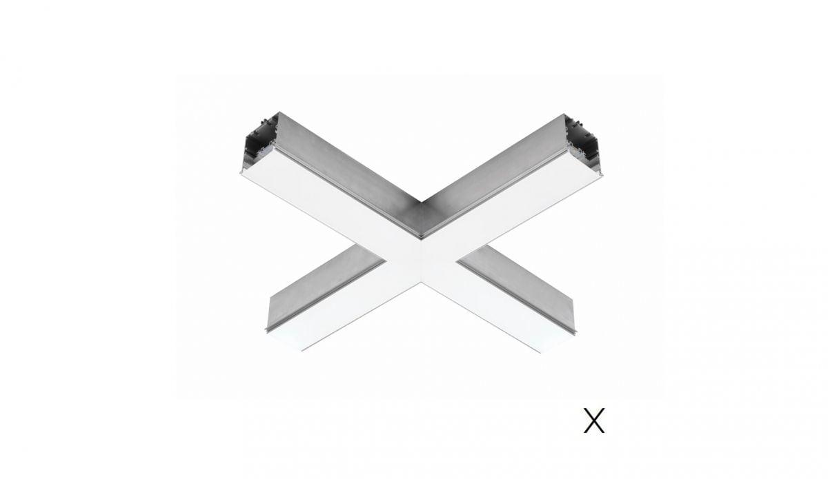 gaudi 70 lijnverlichting hoekstuk x inbouw trimless 608x608mm 3000k 3229lm 35w fix