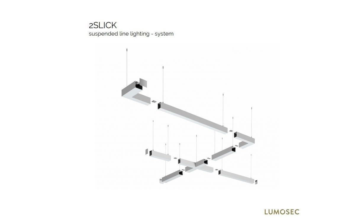 2slick small line pendel hoekstuk x 608x608x40x65mm 3000k 2662lm 35w fix