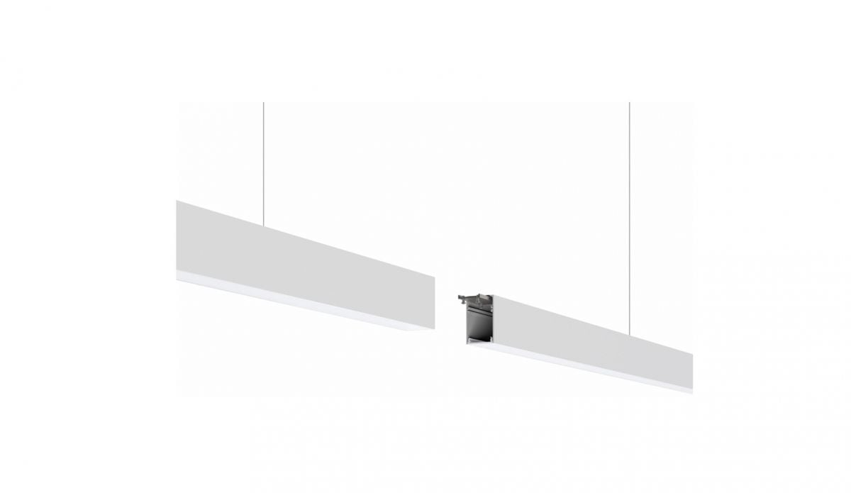 2slick small line pendel lijnverlichting einddeel 1500x40x65mm 3000k 2218lm 25w fix