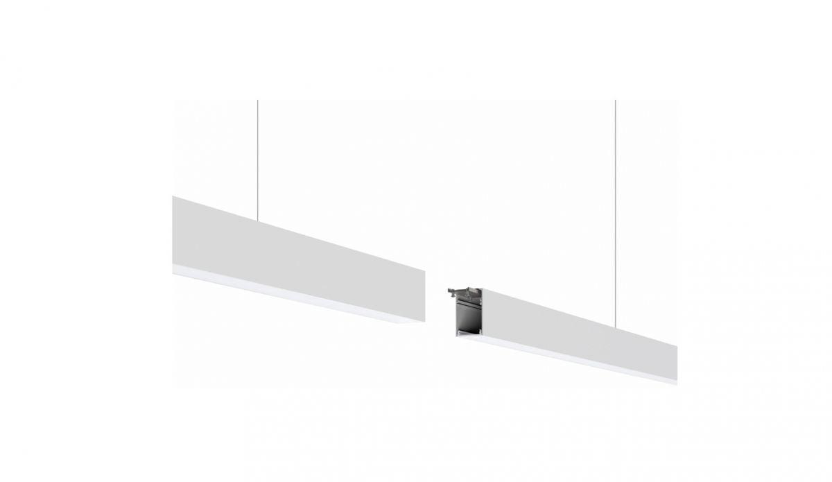 2slick small line pendel lijnverlichting einddeel 2400x40x65mm 3000k 3549lm 40w dali