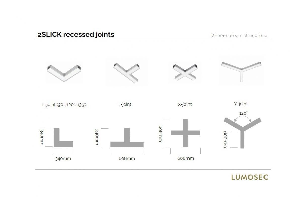 2slick small line recessed joint l 135 340x340x40x65mm 3000k 1775lm 21w dali