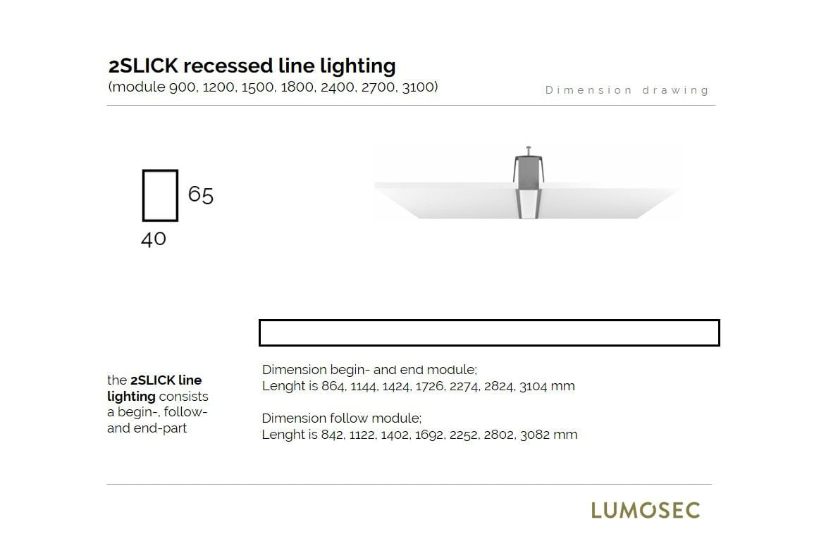 2slick small line recessed line lighting begin 1500x40x65mm 3000k 2218lm 25w fix