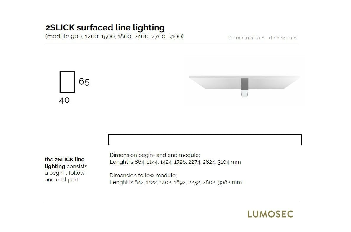 2slick small line surfaced line lighting end 2700x40x65mm 3000k 4436lm 50w fix