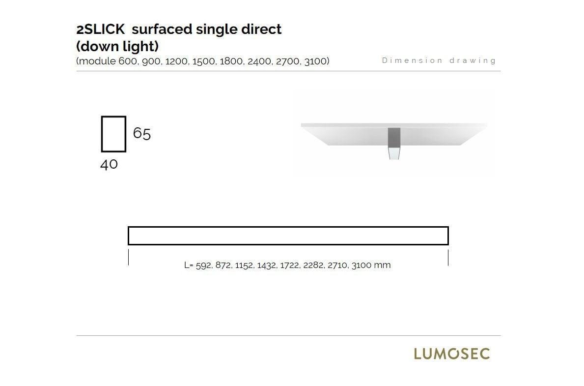2slick small line surfaced line lighting single 600x40x65mm 3000k 887lm 13w fix