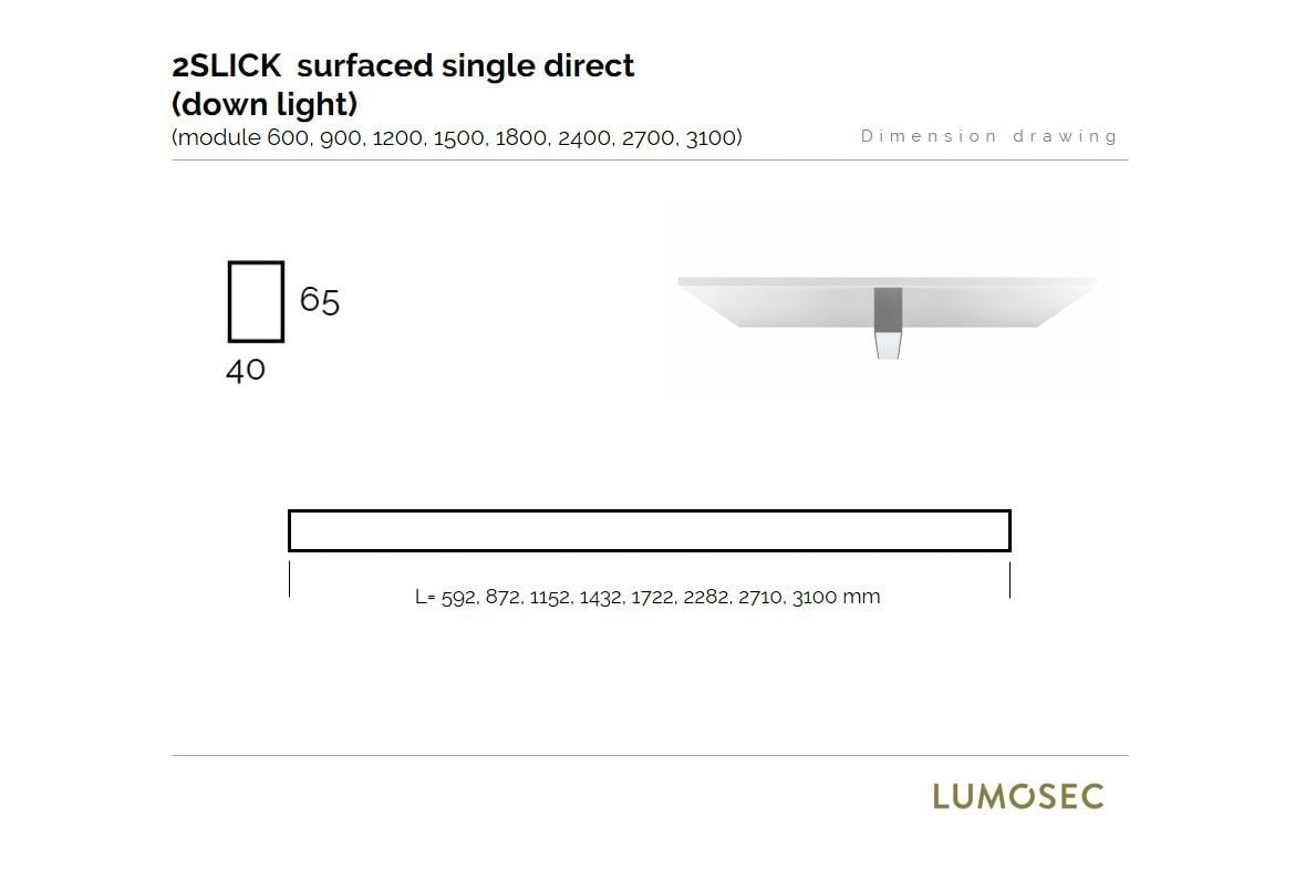 2slick small line surfaced line lighting single 600x40x65mm 3000k 887lm 13w dali