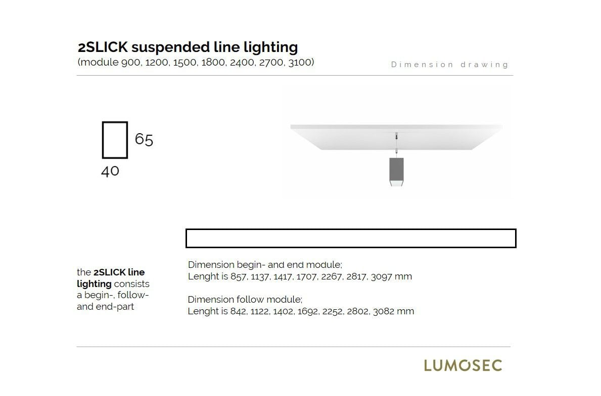 2slick small line suspended line lighting end 1800x40x65mm 3000k 2262lm 35w dali