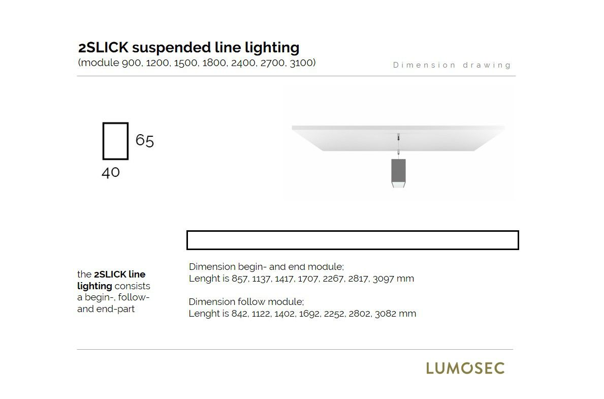 2slick small line suspended line lighting end 3100x40x65mm 3000k 4480lm 60w fix