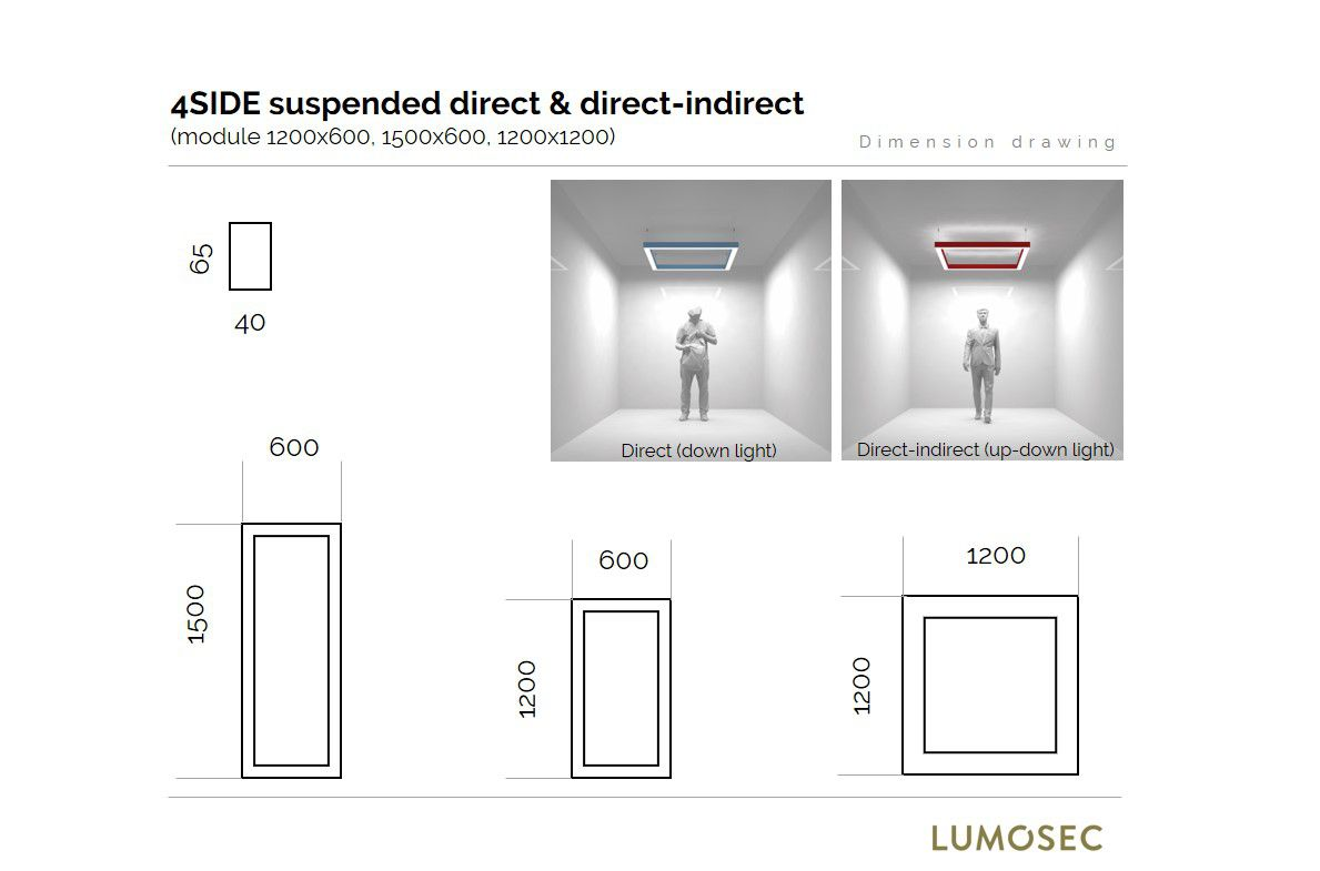 4side small line pendel verlichting updown 1500x600mm 3000k 9760lm 2x25w2x13w2x2w fix