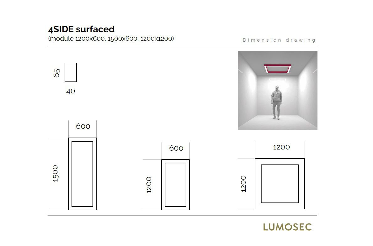 4side small line luminaire surfaced 1200x1200mm 3000k 7098lm 4x21w fix