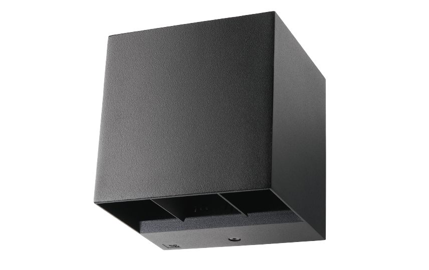 baccio wall luminaire square 120x110x120mm updown adjustable beam 8w 4000k 360lm ip65 ik10 dimmable black