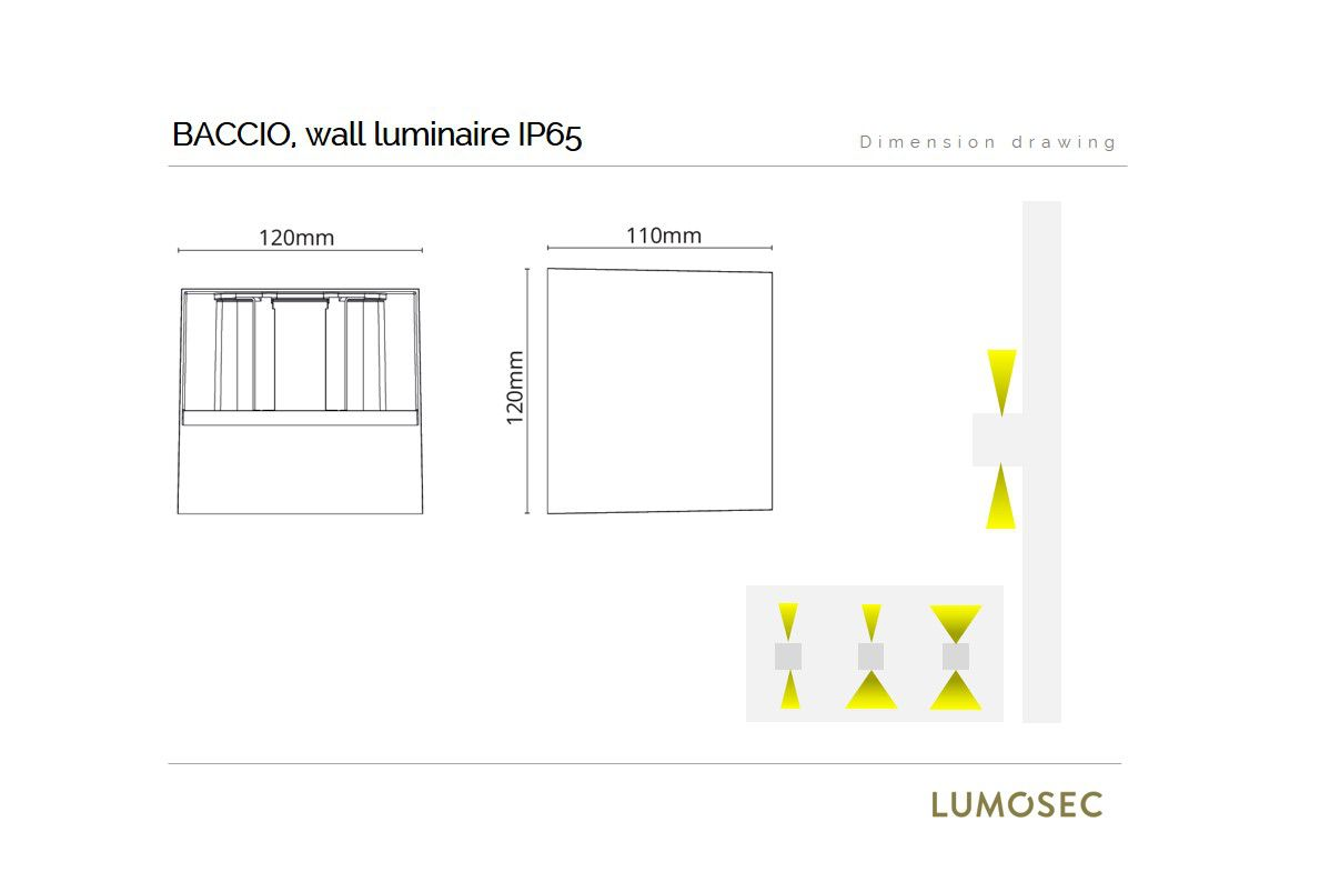 baccio wall luminaire square 120x110x120mm updown adjustable beam 8w 2700k 340lm ip65 ik10 dimmable black
