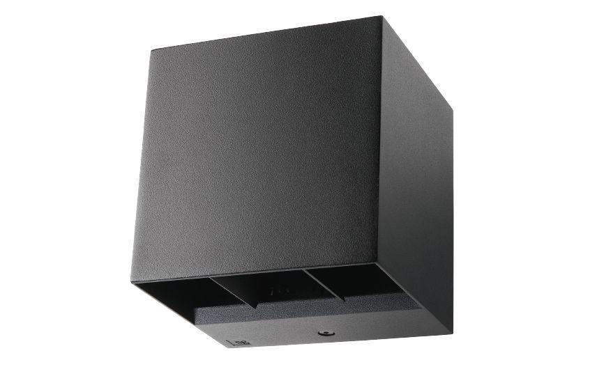 baccio wandarmatuur vierkant 120x110x120mm updown instelbare lichthoek 8w 2700k 340lm ip65 ik10 dimbaar zwart