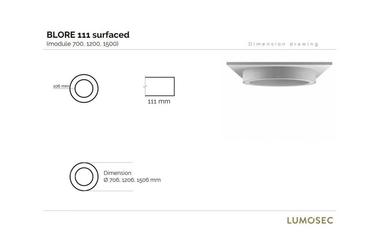 blore 111 surfaced luminaire round 1500mm 3000k 8255lm 105w fix