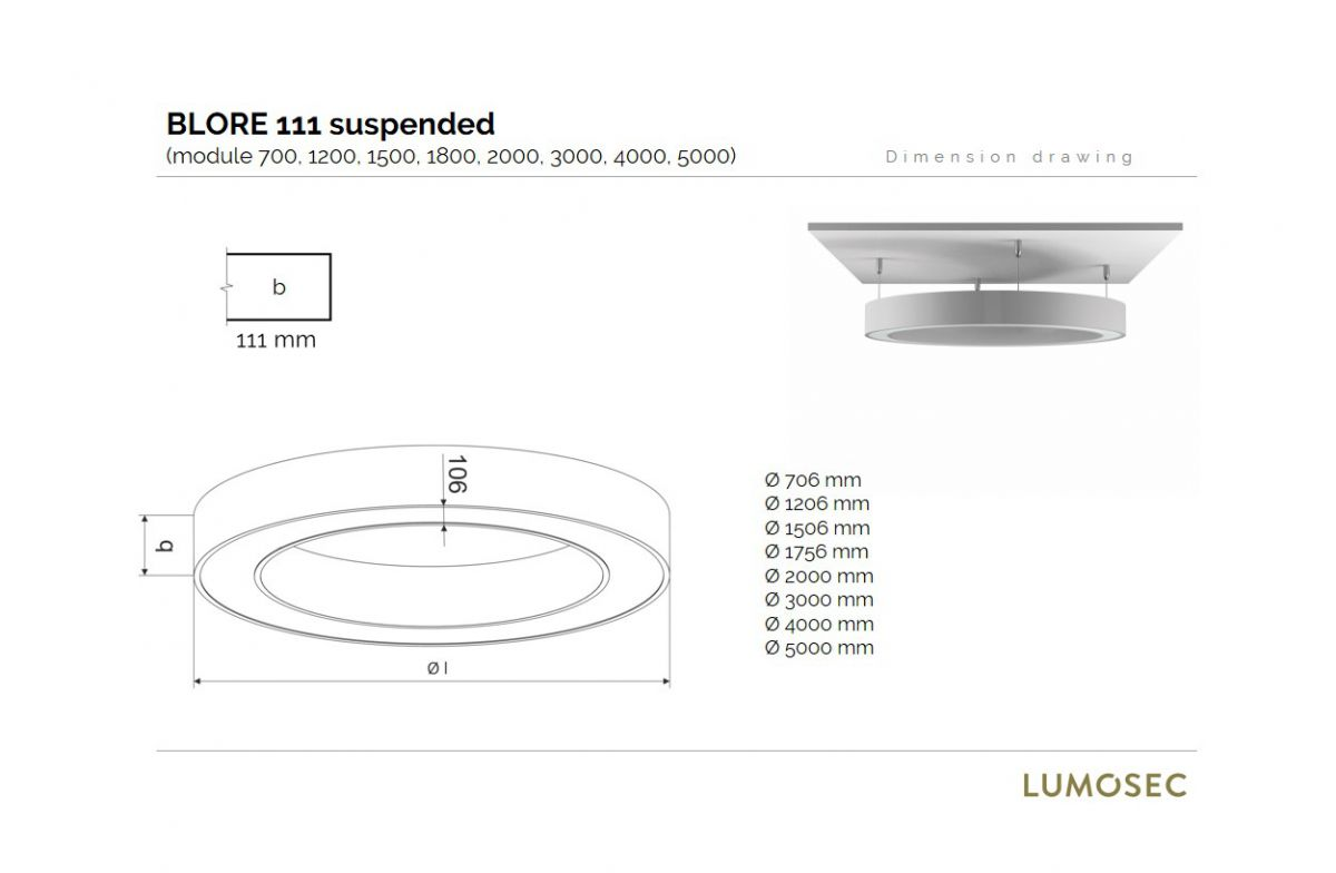 blore 111 suspended luminaire round updown 2000mm 3000k 16304lm 140w70w fix