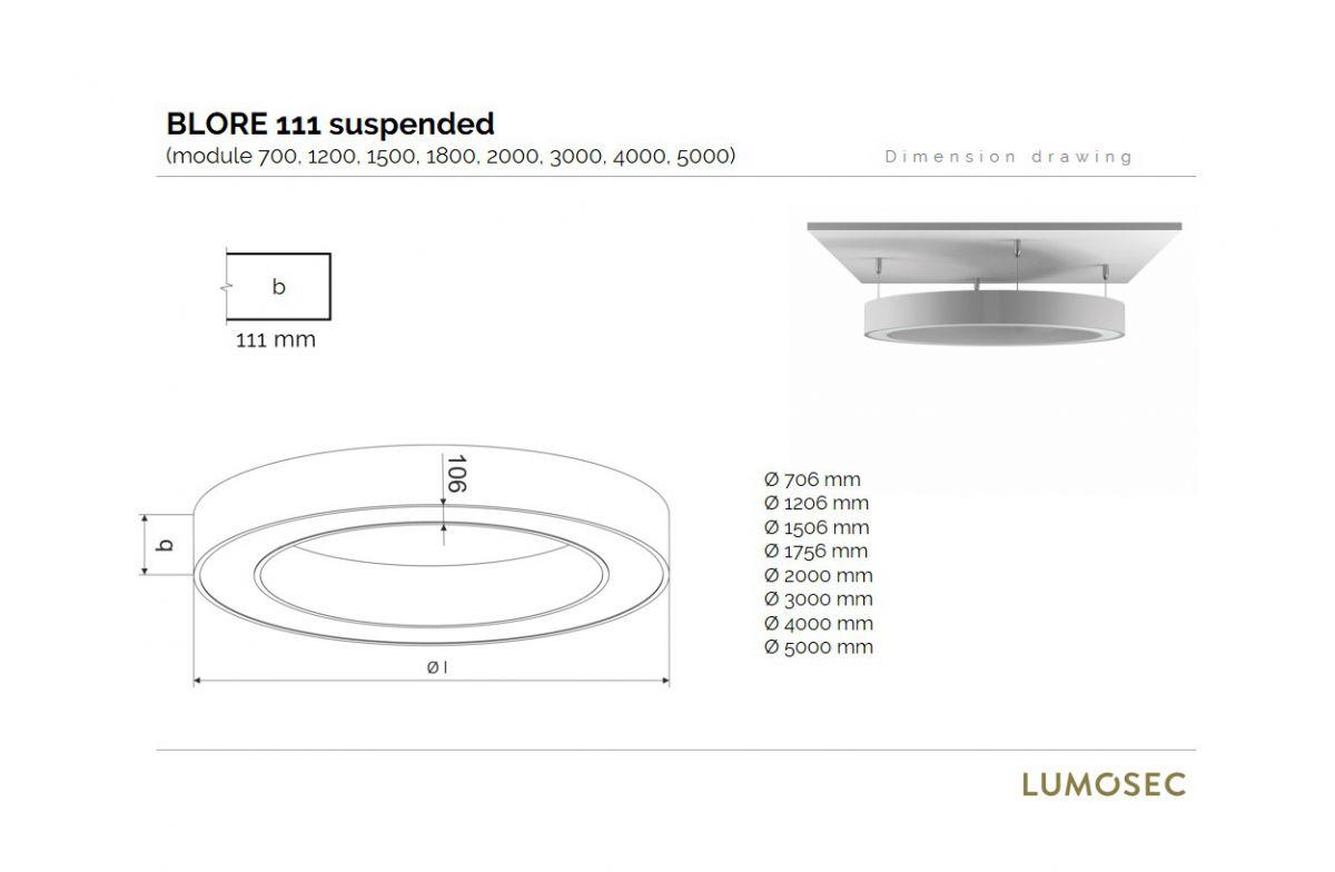 blore 111 suspended luminaire round updown 4000mm 3000k 23953lm 210w105w fix