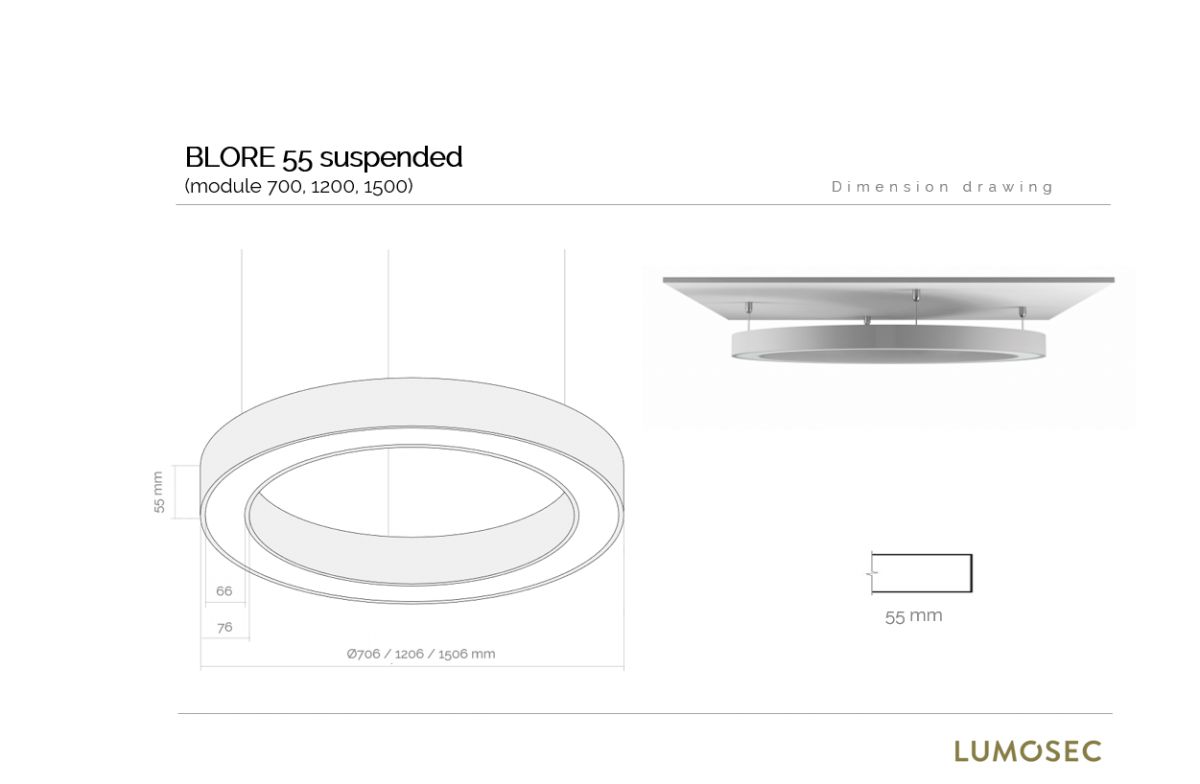 blore 55 pedant luminaire ring 700mm 3000k 5046lm 70w fix
