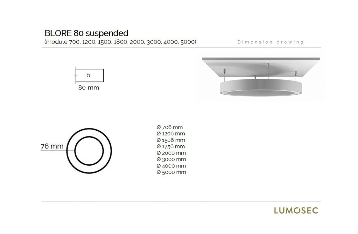 blore 80 suspended luminaire round 1500x80mm 4000k 9484lm 105w dali