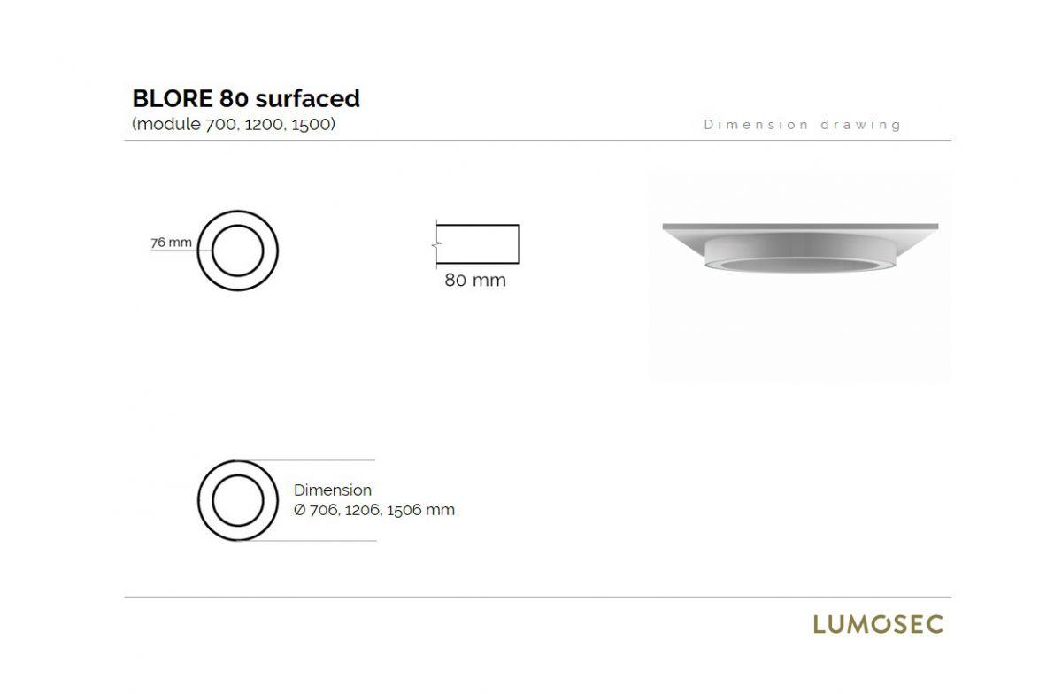 blore 80 surfaced luminaire round 1500x80mm 3000k 8915lm 105w dali