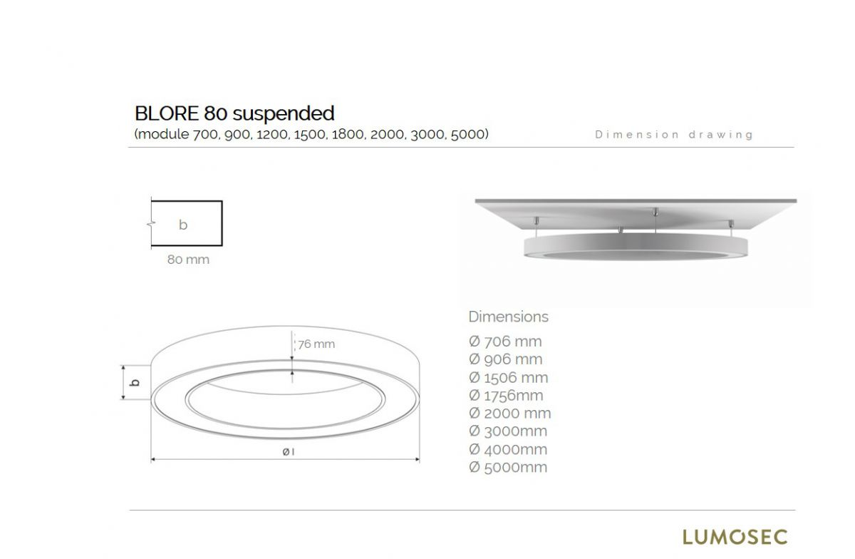 blore 80 suspended luminaire round 2000x80mm 3000k 11739lm 140w fix