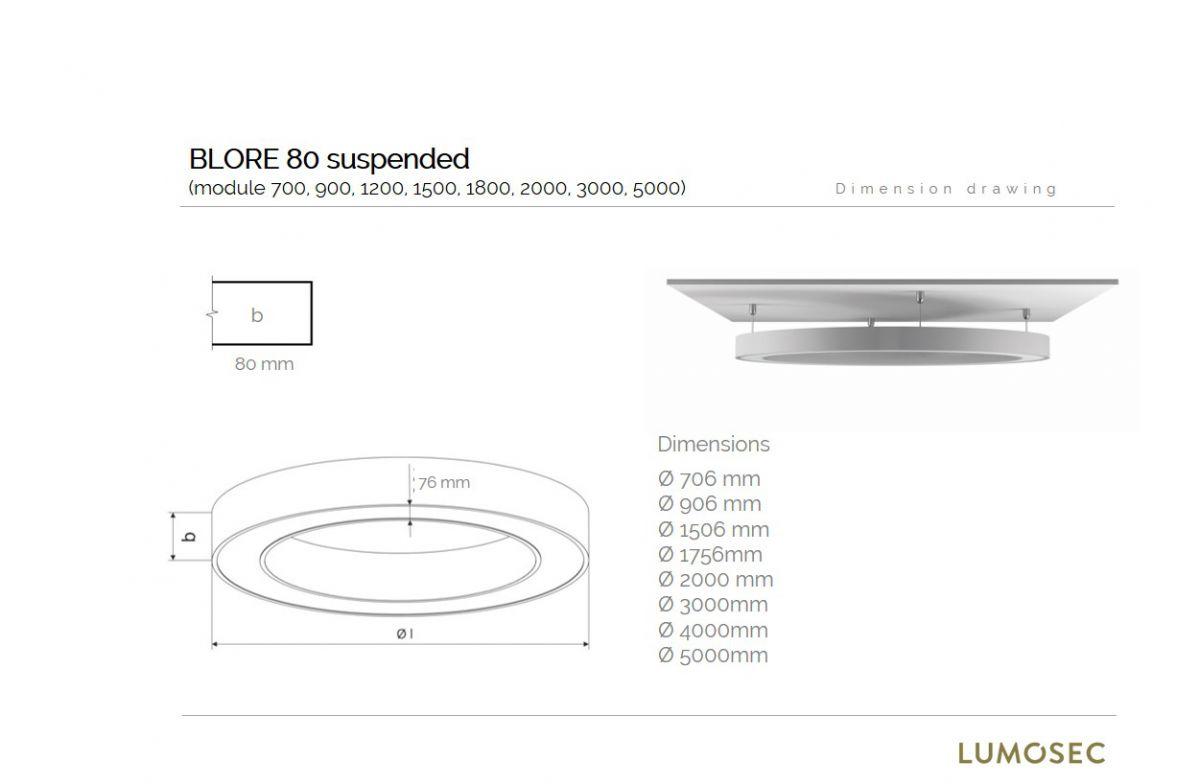 blore 80 suspended luminaire round 2000x80mm 4000k 12488lm 140w fix