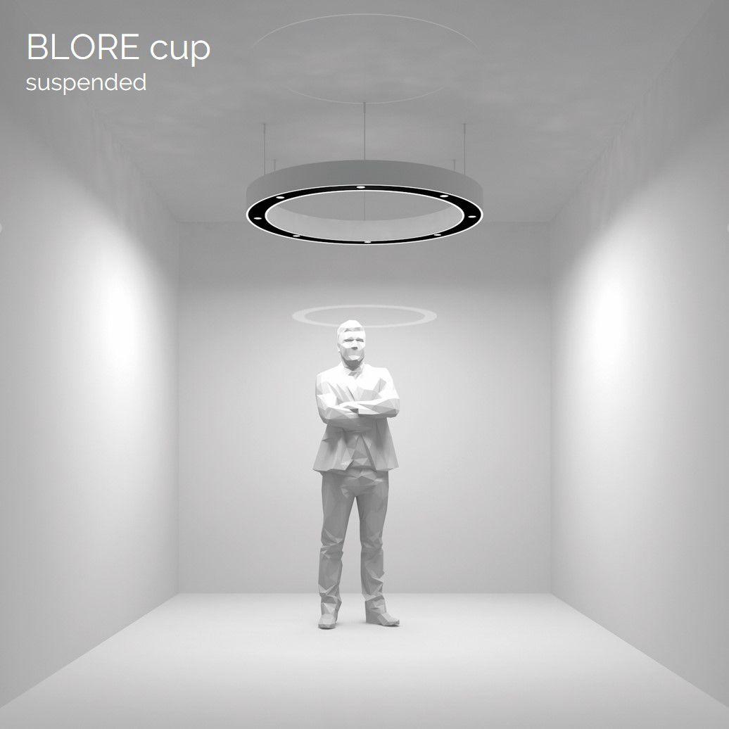 blore cup ring armatuur gependeld 1200mm 3000k 4148lm 12x3w dali