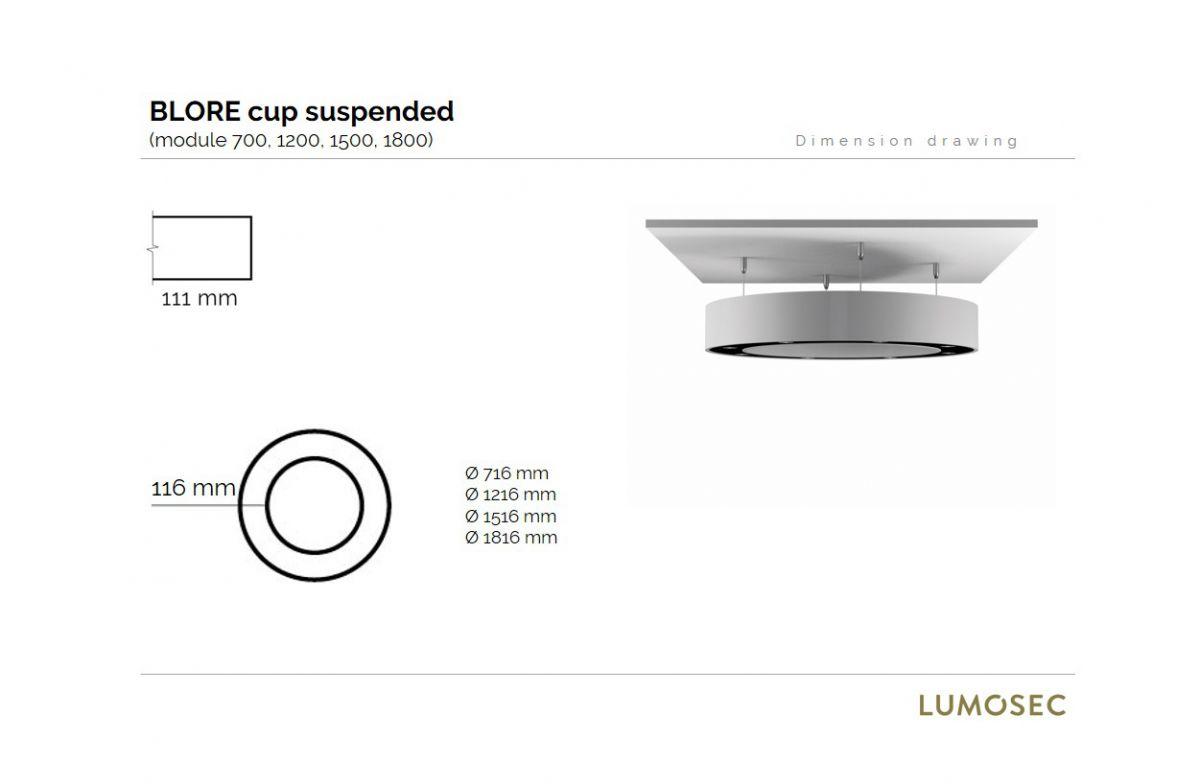 blore cup ring armatuur gependeld 700mm 4000k 2851lm 8x3w dali