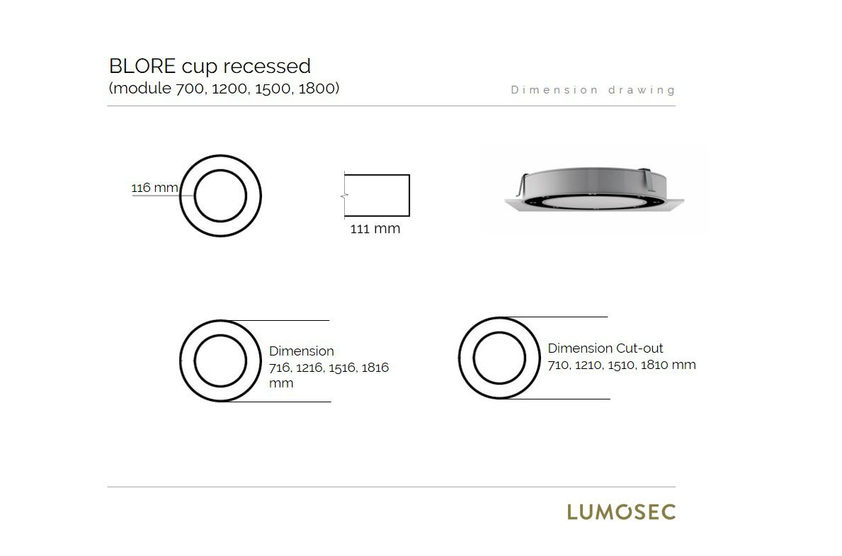 blore cup ring luminaire recessed 700mm 3000k 5461lm 8x6w fix