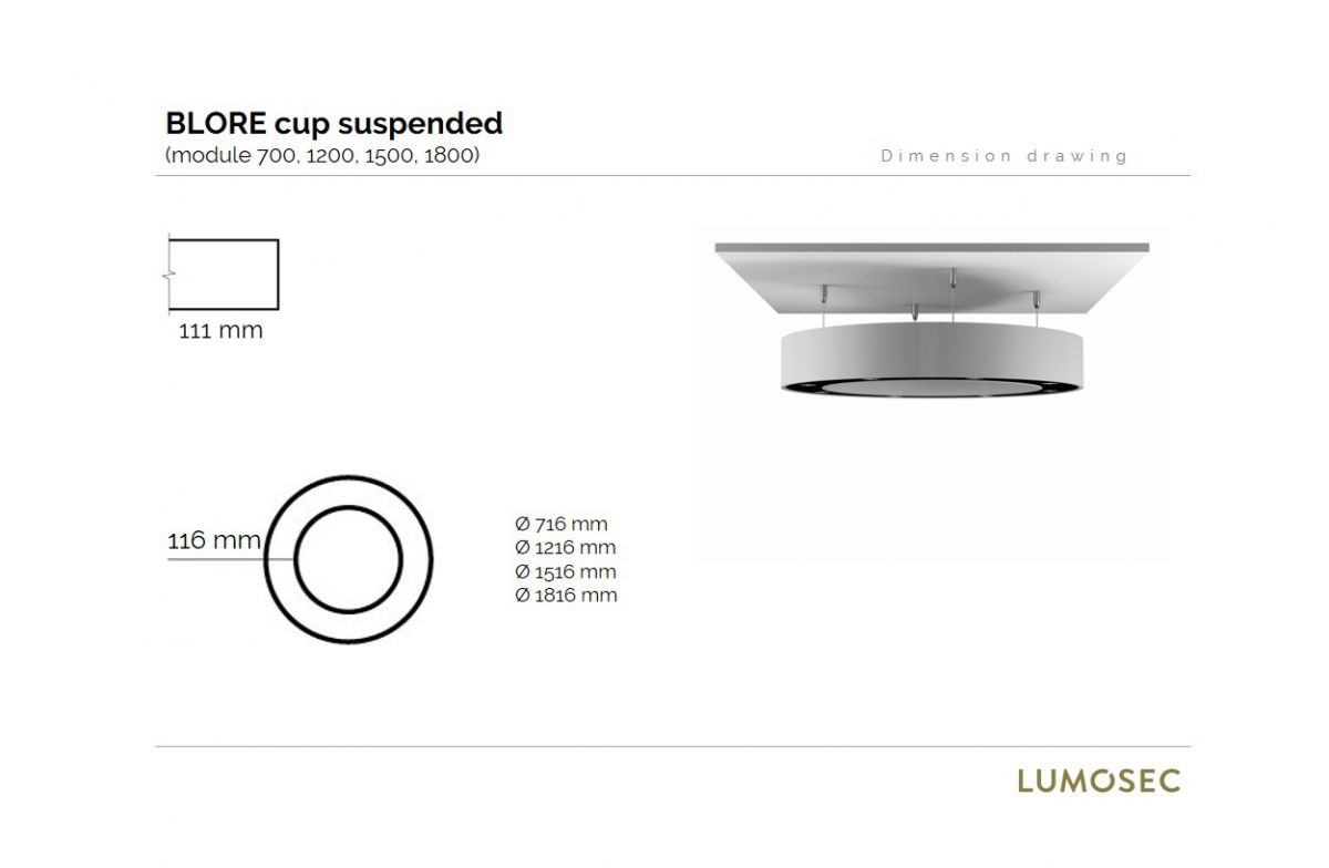blore cup ring luminaire suspended 1200mm 3000k 8192lm 12x6w fix