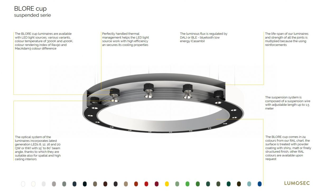 blore cup ring luminaire suspended 700mm 3000k 5461lm 8x6w dali