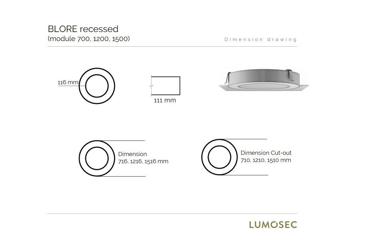 blore recessed luminaire ring 700mm 3000k 5252lm 70w fix