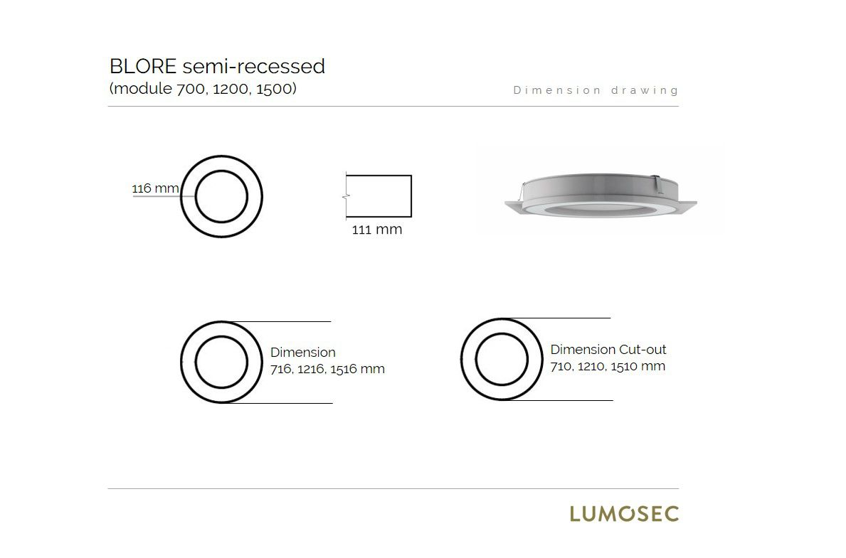 blore semirecessed luminaire ring 1200mm 4000k 5855lm 70w fix