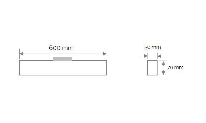 cabrera trackspot lineair 600mm 3000k 2250lm 25w 100 zwart triac