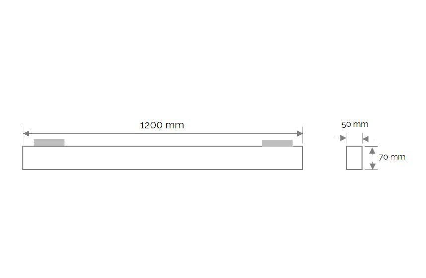 cabrera trackspot linear 1200mm 3000k 3600lm 40w 100 black triac