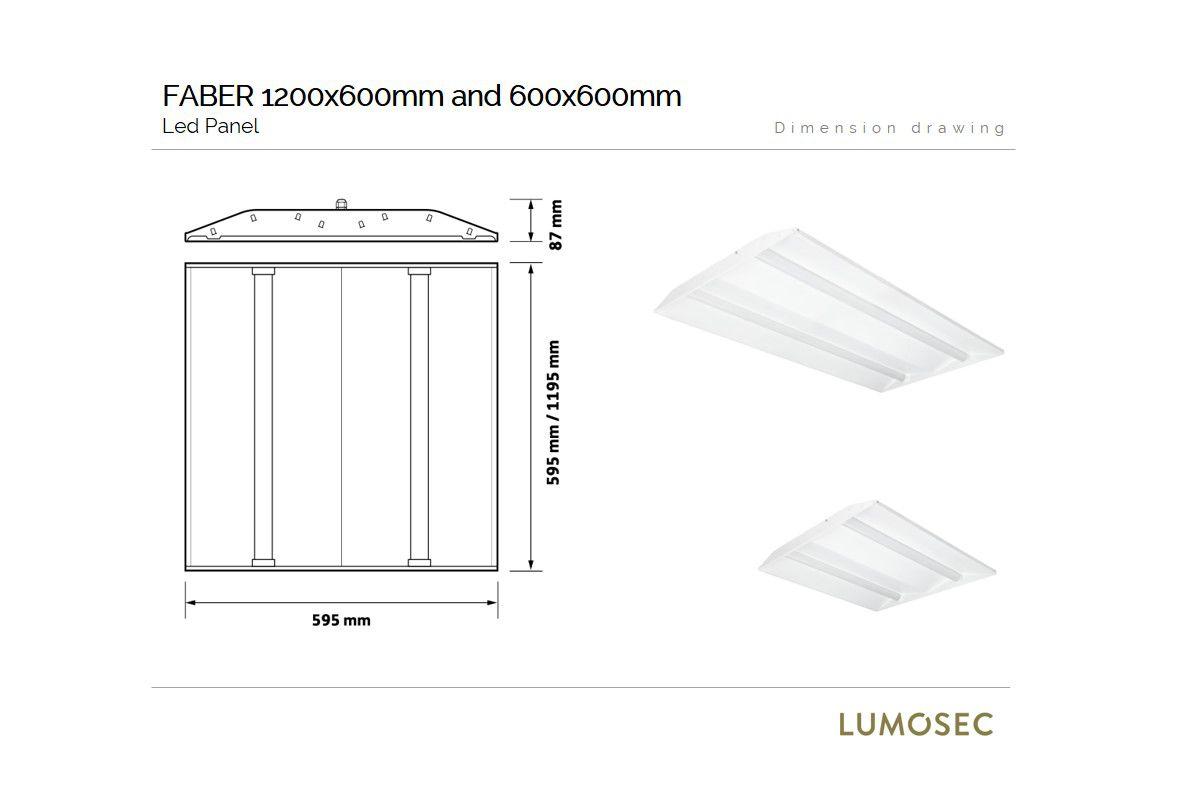 faber design led paneel 600x600mm high efficient ra80 3000k 4452lm 420w wit fix