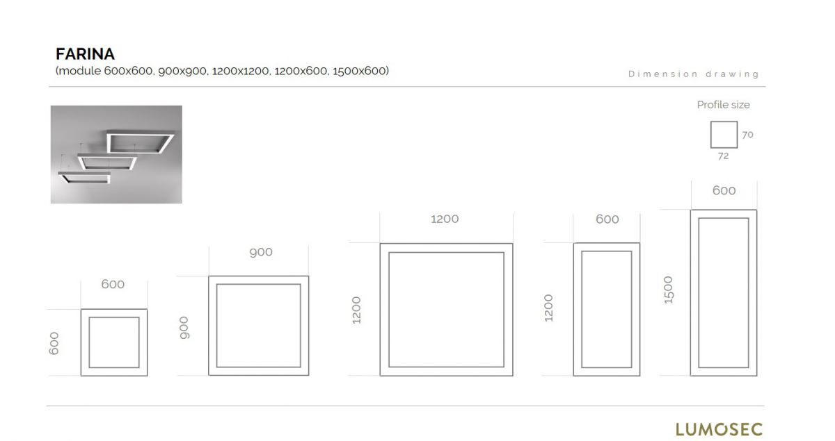 farina suspended luminaire square 1200x1200mm 3000k 17220lm 4x35w fix