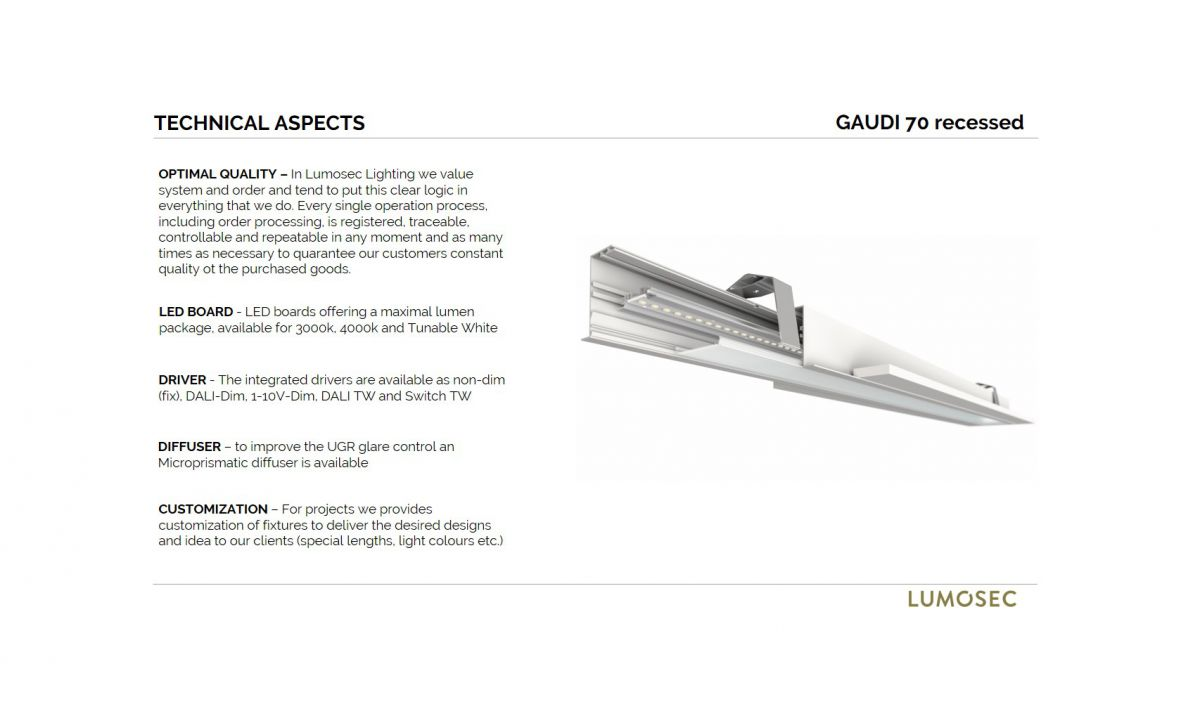 gaudi 70 lijnarmatuur single inbouw 2400mm 4000k 9159lm 70w fix