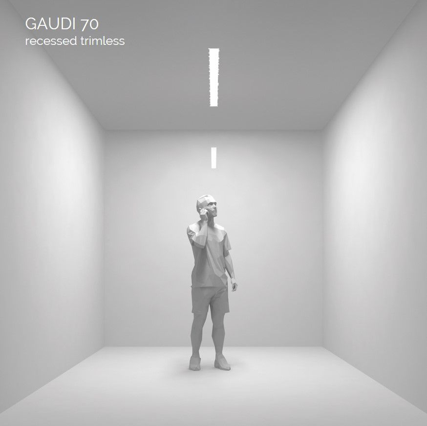 gaudi 70 lijnarmatuur single inbouw trimless 300mm 3000k 1077lm 10w dali
