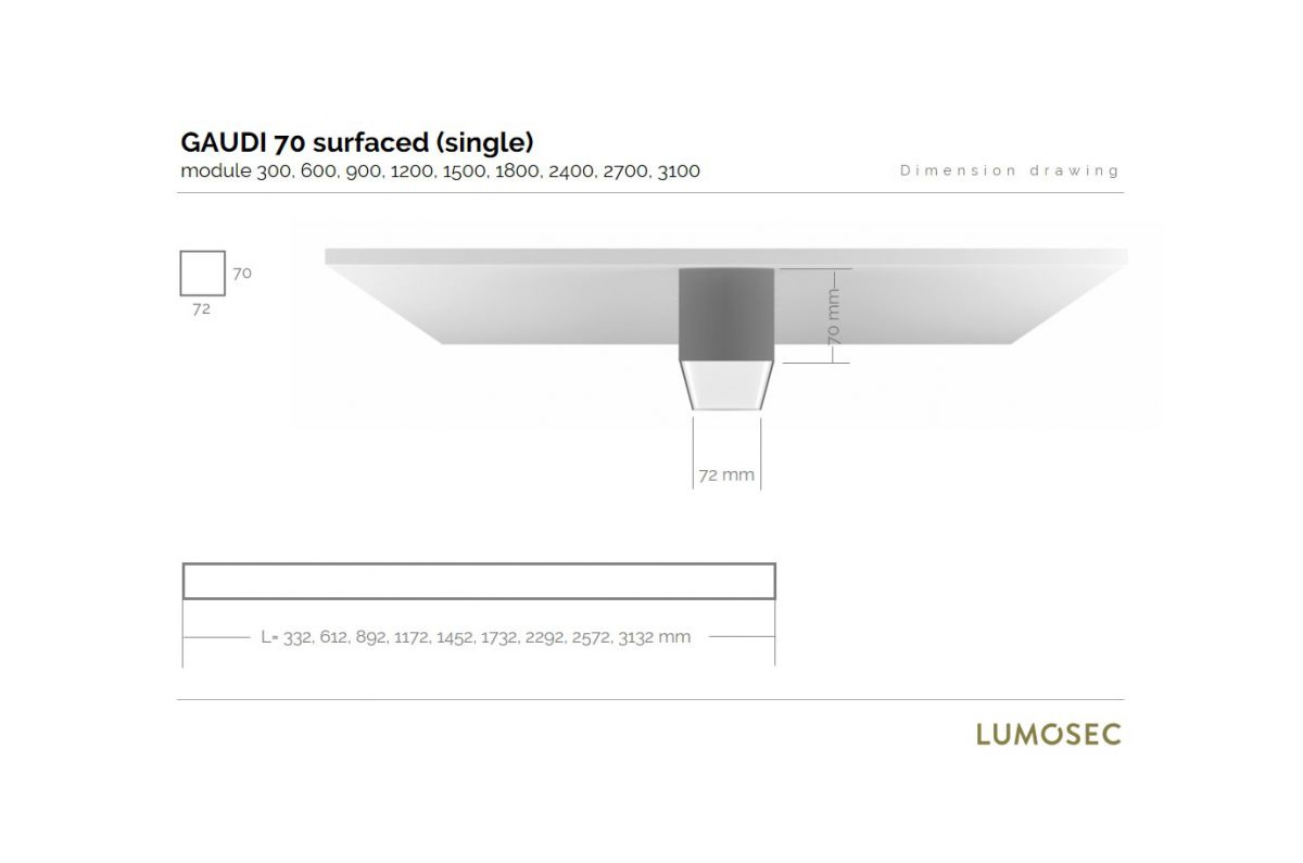 gaudi 70 lijnarmatuur single opbouw 2400mm 4000k 9159lm 70w dali