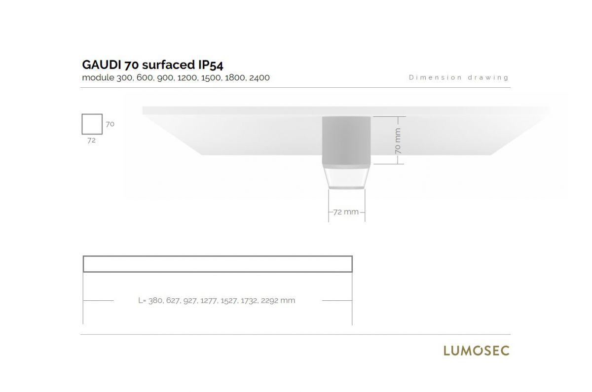 gaudi 70 lijnarmatuur single opbouw ip54 1200mm 3000k 4305lm 35w dali