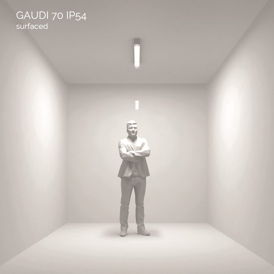 gaudi 70 lijnarmatuur single opbouw ip54 1200mm 4000k 4580lm 35w fix