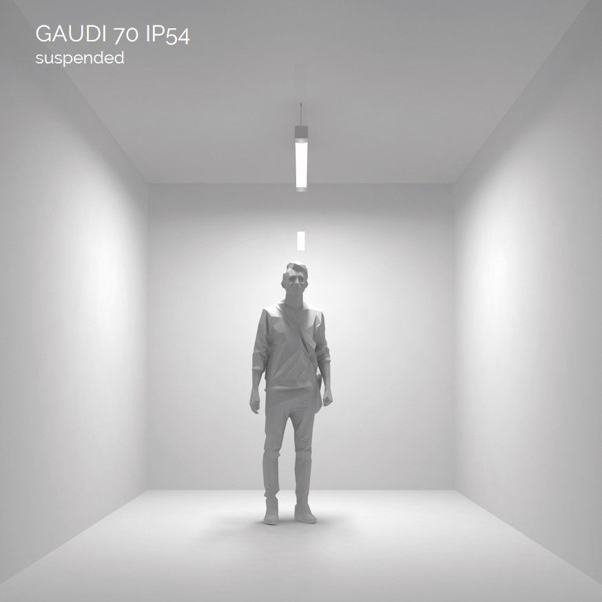 gaudi 70 lijnarmatuur single pendel ip54 1500mm 4000k 5725lm 40w dali
