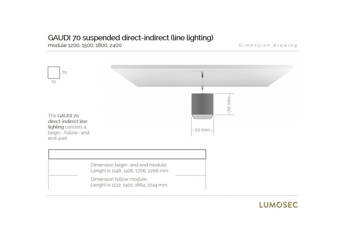 gaudi 70 lijnverlichting directindirect einddeel gependeld 1200mm 4000k 7380lm 3520w fix