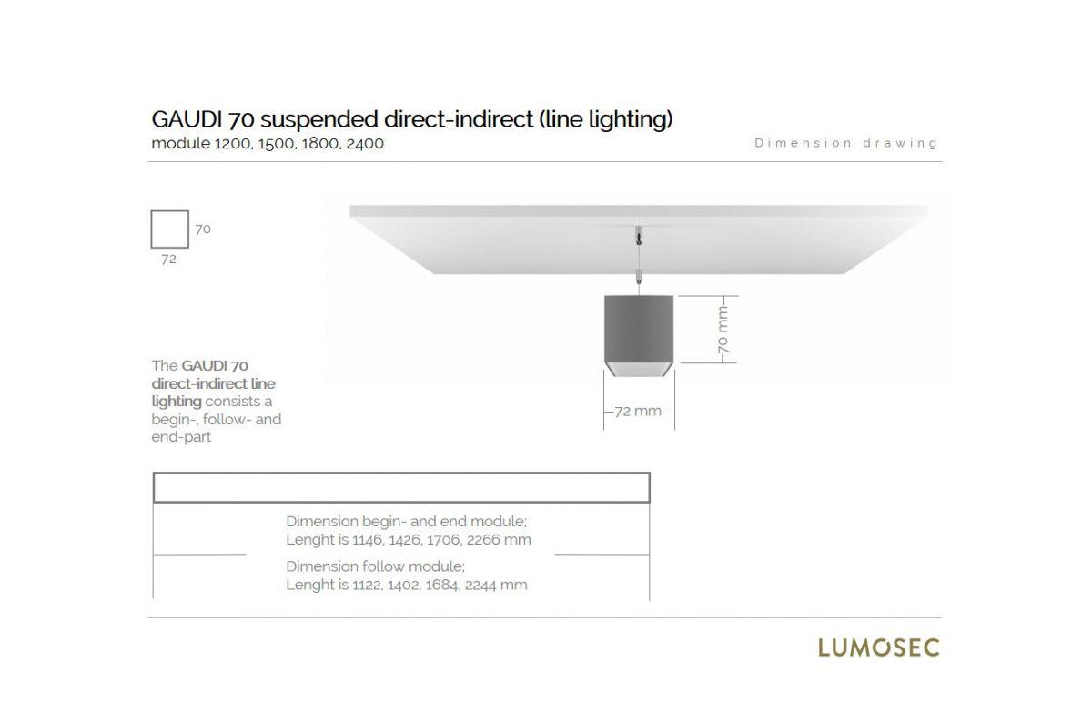 gaudi 70 lijnverlichting directindirect einddeel gependeld 1200mm 3000k 7011lm 3520w dali