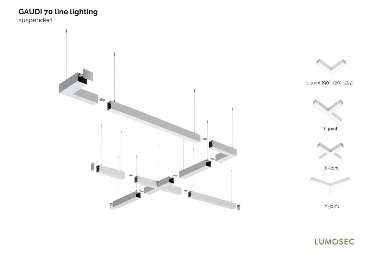 gaudi 70 lijnverlichting einddeel gependeld 1200mm 3000k 4305lm 35w dali