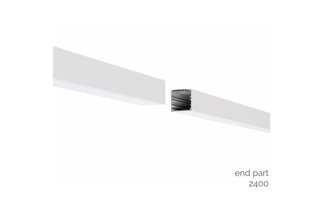 gaudi 70 lijnverlichting einddeel gependeld 2400mm 3000k 8610lm 70w dali