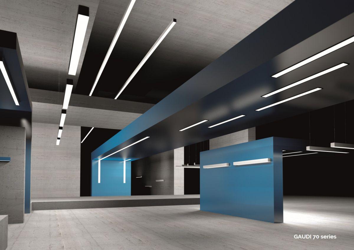 gaudi 70 lijnverlichting einddeel opbouw 1500mm 3000k 5382lm 40w dali
