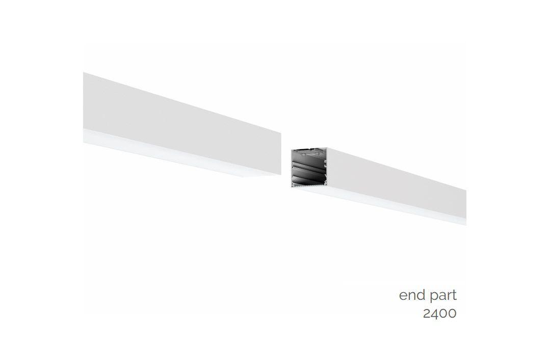 gaudi 70 lijnverlichting einddeel opbouw 2400mm 4000k 9159lm 70w dali
