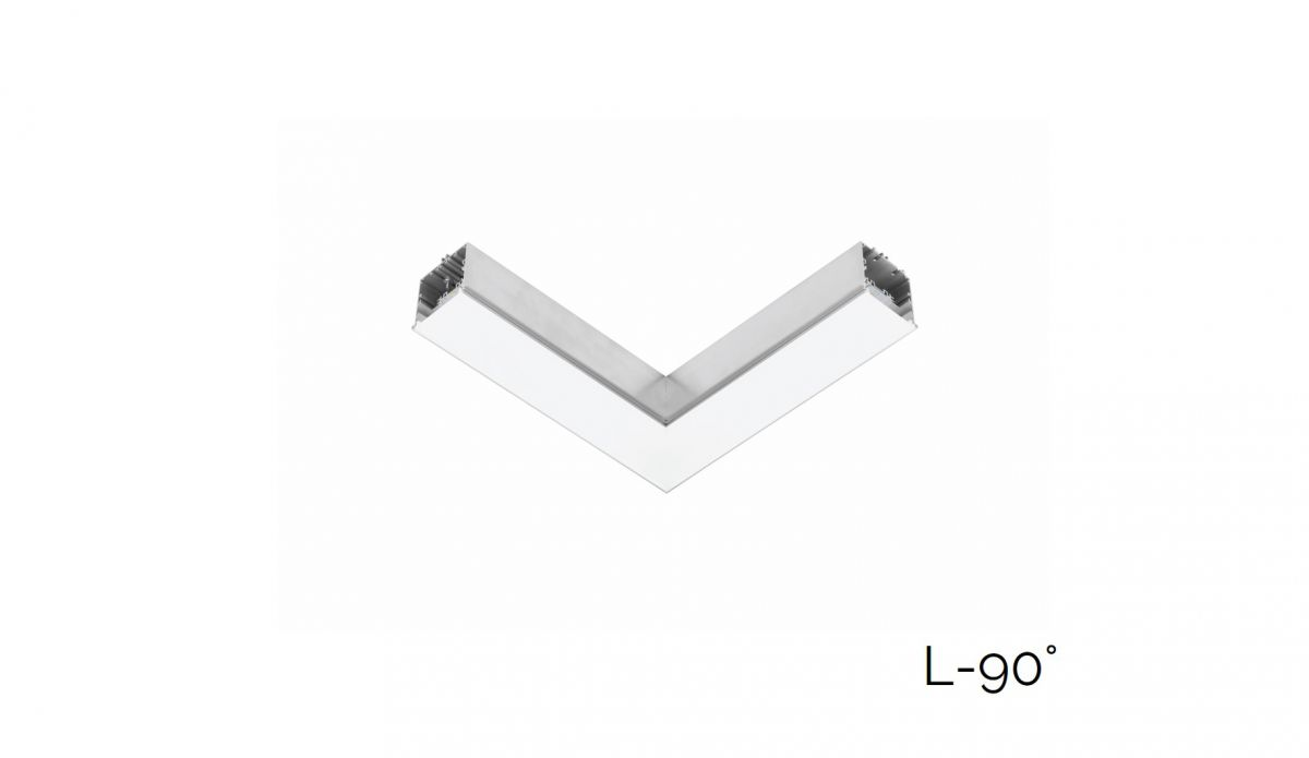 gaudi 70 lijnverlichting hoekstuk l 90 inbouw trimless 340x340mm 3000k 2152lm 20w fix