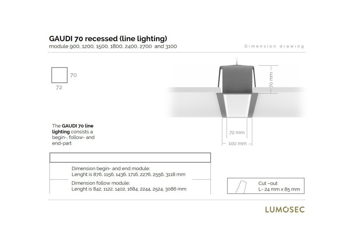 gaudi 70 lijnverlichting startdeel inbouw 2700mm 3000k 10762lm 80w fix