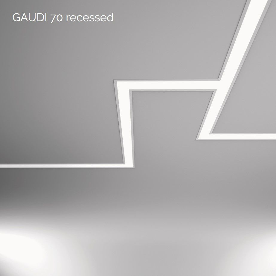 gaudi 70 line lighting end recessed 900mm 3000k 3229lm 25w dali